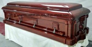Dark Red High Gloss Solid Mahogany Casket pictures & photos
