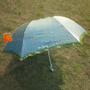 Lace Piping Green Pearlized Cloth 4 Folding Umbrella