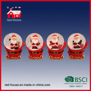 Christmas Glass Snow Ball Santa Claus Doll Inside with LED Lights Water Ball