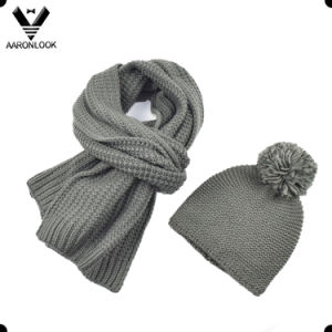 Unisex Pure Color Winter Thick Knitted Acrylic Wool Blended Scarf Hat pictures & photos