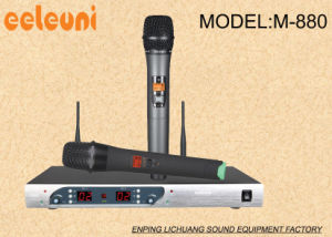 Unique Appearance LED UHF Duanl Channels Wireless Microphone