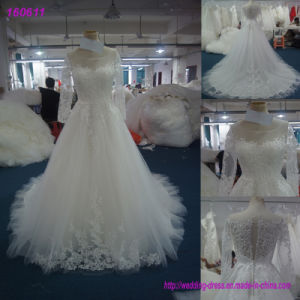 Real Sample Wedding Dress Manufacture Long Sleeve Tulle Bridal Gown 160611 pictures & photos