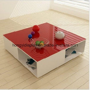 Wooden Tea Table with Red Color Liquid Painting, Coffee Table pictures & photos