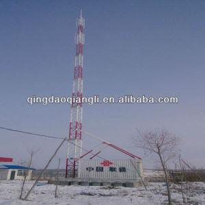 Tubular Mobile Phone Antenna Masts with Telecom Shelter