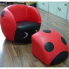 Childs PVC Ladybird Chair and Footstool (XT9-56LB)