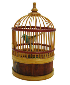 Wooden Music Box Singing Bird in Cage Wind up