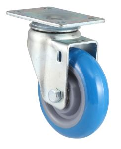 Threaded Stem PU Caster with Dual Brake (Blue) pictures & photos