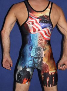 Promotional Custom Cheap Sublimation Wrestling Singlet pictures & photos