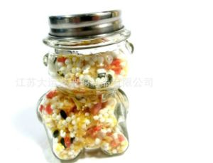 New Design Animal Shape Glass Candy Jar with Metal Lid pictures & photos