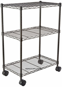 Black Epoxy Coated 3 Layers DIY NSF Approved Metal Wire Rack Shelf Trolley Cart on Wheels, Multi-Functional Used for Kitchen and Garage Storage pictures & photos