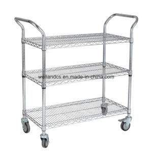 3 Tier China Chrome Metal Movable NSF Perforated Wire Shelving Handcart with Handle pictures & photos