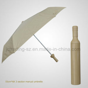 Promotion Gift Bottle Umbrella 3 Section Folding Manual Umbrella (JF-MQT307) pictures & photos