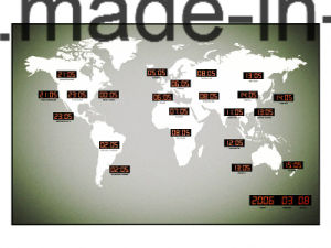24 Major City Large LED Digital World Time Wall Clock in Factory Price pictures & photos
