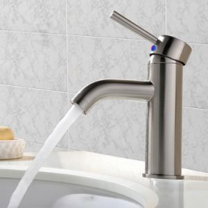 """Modern Commercial Stainless Steel Brushed Nickel Single Handle Vanity Vessel Sink Bathroom Faucet, Sink Mixer Faucet with Two 3/8"""" Hoses pictures & photos"""