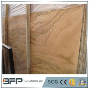 Polished Wood Grain Yellow Natural Marble Slab for Vanity Top pictures & photos