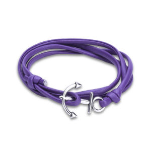 Fashion Handmade Jewelry Anchor Purple Leather Bracelets pictures & photos