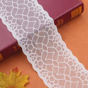 Guangzhou White Stretch Fabric Wholesale Elastic Lace Trim pictures & photos