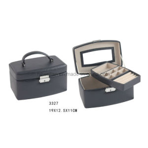 Classic Black Leather Retangle Shape with Handle Jewelry Storage Box Jewelry Box pictures & photos