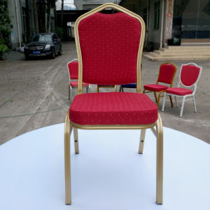 Hotel &Restaurant Blue Gold Steel Stacking Banquet Chair pictures & photos