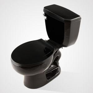 China Ceramic Economic Siphonic Flush 2PC Toilet Black