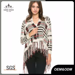 Plaid Fringe Knit Womens Sweater Jacket pictures & photos