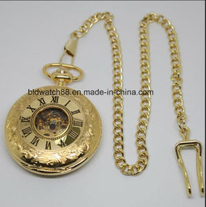 Men′s Gold Mechanical Skeleton Pocket Watch with Chain pictures & photos