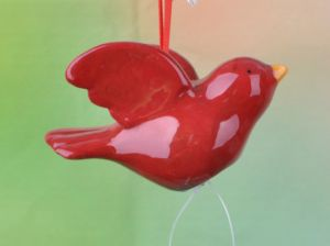 Christmas Ornaments Beautiful Classic Red Ceramic Dove Hanging Decoration pictures & photos
