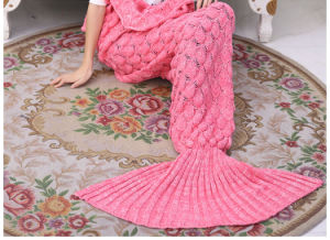 Knitted Handmade Crochet Mermaid Tail Blanket Throw Bed Sofa Wrap Sleeping Bag pictures & photos