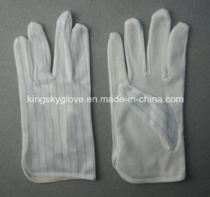 Anti-Static Light Weight Cotton Work Glove with PVC Dots-2141 pictures & photos