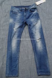 10.4oz Light Distressed Denim Mens Jeans (HS-28301T#) pictures & photos
