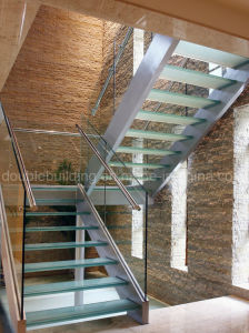 Folding Staircase Wood Tread Straight Stairs with Railing pictures & photos