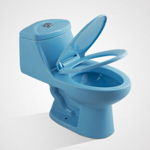 Ceramic Custom Size Soft Close Blue One Piece Wc Toilet pictures & photos