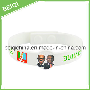 Figured Silicone Bracelet with Cmyk Printed Logo pictures & photos
