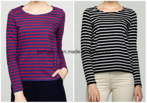 Women Wild Striped Cotton Round Neck Long-Sleeved T-Shirt pictures & photos
