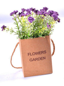 Artificial Flocking Plastic Wild Flowers in Hanging Paper Bag for All Public Decoration pictures & photos