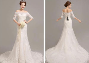 2017 Half Sleeves off Shoulder Fit & Flare Wedding Bridal Dress pictures & photos
