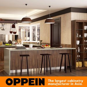 China Oppein Modern Dark Wood Grain Pvc U Shape Mdf Kitchen Cabinets Op16 Pvc06 China