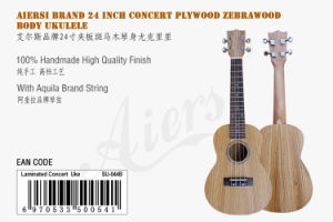 Cheap Price Zebrawood Body 24 Inch Concert Hawaii Ukulele pictures & photos