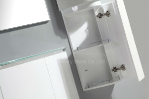 Cruved PVC Two Doors Cabinet in White Painting with Side Cabinet pictures & photos