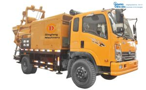 Harsh Working Condition Multi-Functional Diesel & Electric Double Shaft Forced Movable Truck Mounted Concrete Mixer with Pump
