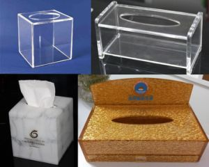 Custom Modern Acrylic Countertop Pull out Storage Drawer / Cosmetic Organizer Box W/ Tissue Dispenser pictures & photos