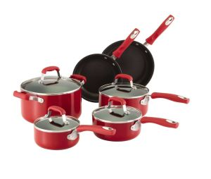 Amazon Vendor 10-Piece Nonstick Cookware Set Red Silicone Handle pictures & photos