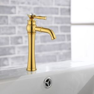 European Luxury Gold Plated Brass Basin Faucet