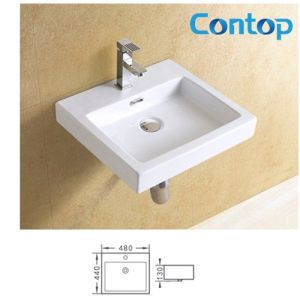 Ceramic Sanitary Ware Wall Hung Basin Wash Basin 8376 pictures & photos