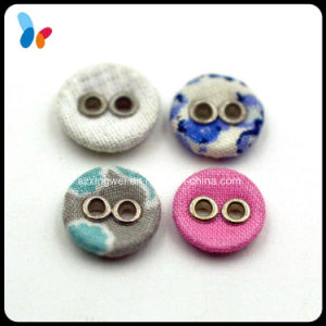 Colorful Fabric Covered 2 Holes Metal Sewing Button for Garment pictures & photos