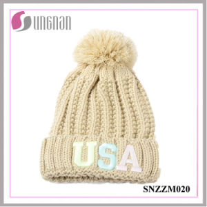 2016 High Quality Fluorescent Luminous Embroidery Letter Wool Knit Hats pictures & photos