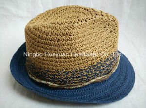 100% Toyo Crocheted Paper Straw Fedora Straw Hat pictures & photos