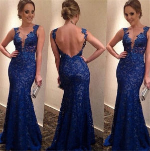 Women Deep V-Neck Blue Sexy Lace Backless Wedding Dress pictures & photos