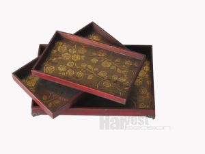 "Antique Decorative ""Flower"" Wooden Tray"