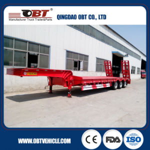 New Hydraulic Ladder 50ton 3 Axle Lowbed Semi Trailer pictures & photos